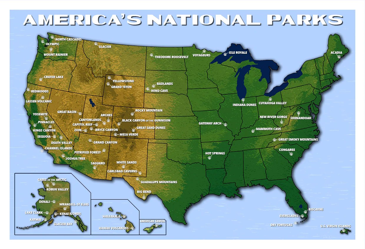 Be the first to discover secret destinations, travel hacks, and more. America S National Parks Map Updated For 2021 National Park Posters