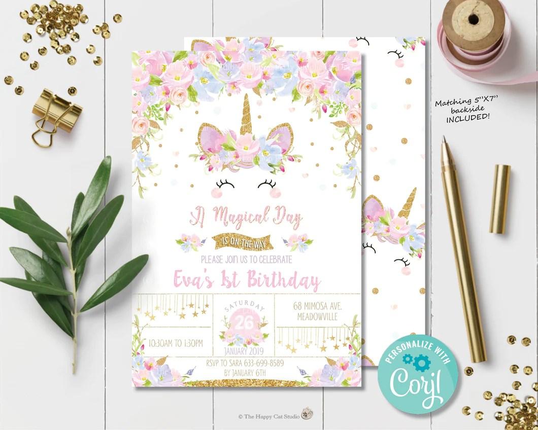 unicorn dream birthday invitation instant editable template ub2