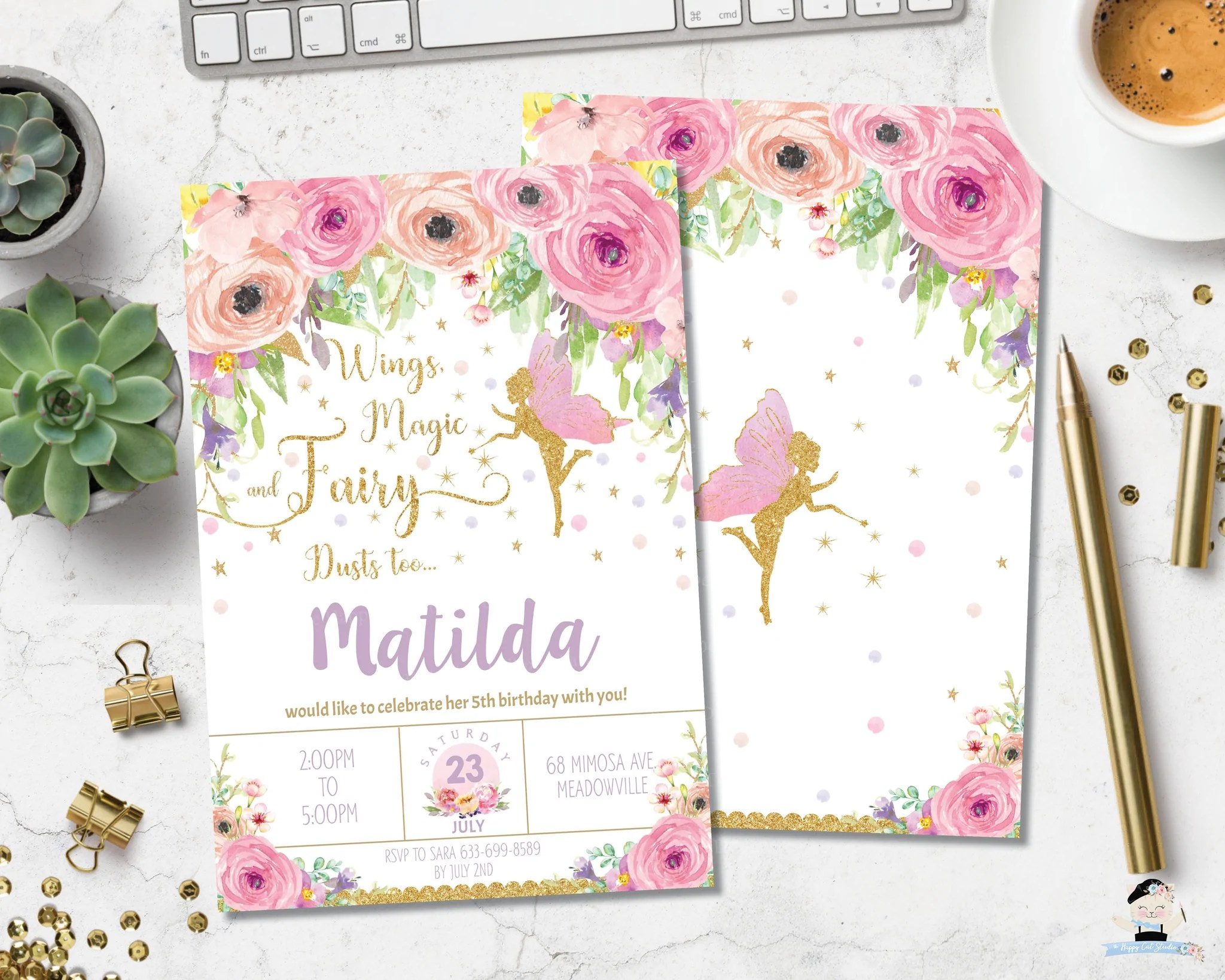 spring pink floral fairy birthday invitation instant editable template ff3