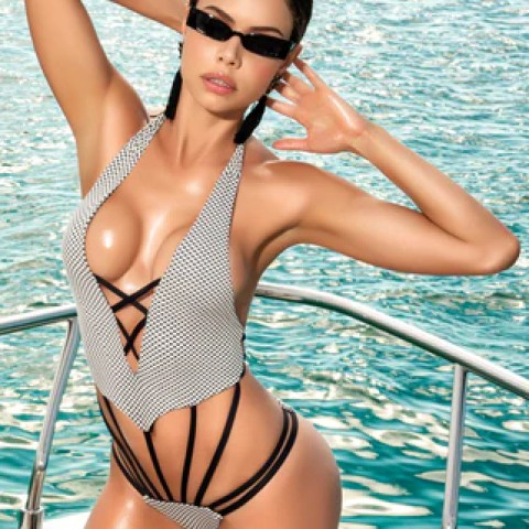 MP6528 sexy strappy one piece swimsuit with deep V front