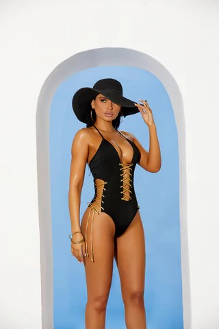 EM82267 - Lycra monokini with lace up detail