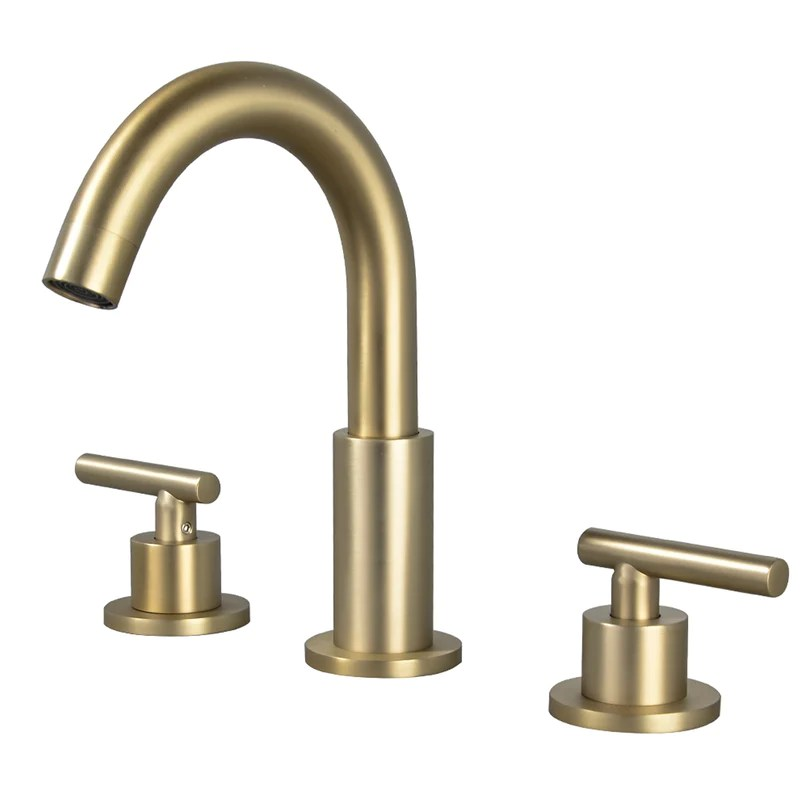 8 in widespread 2 handle mid arc bathroom faucet with valve and cupc water supply lines in brushed gold