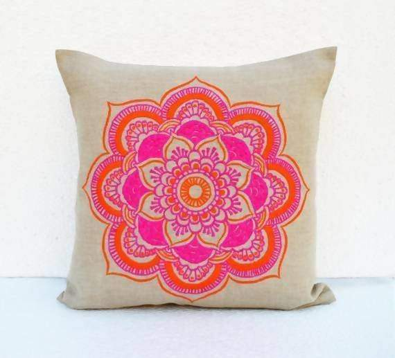 mandala linen pillow cover embroidered pillow case tribal indian craft pillow ethnic 16x16