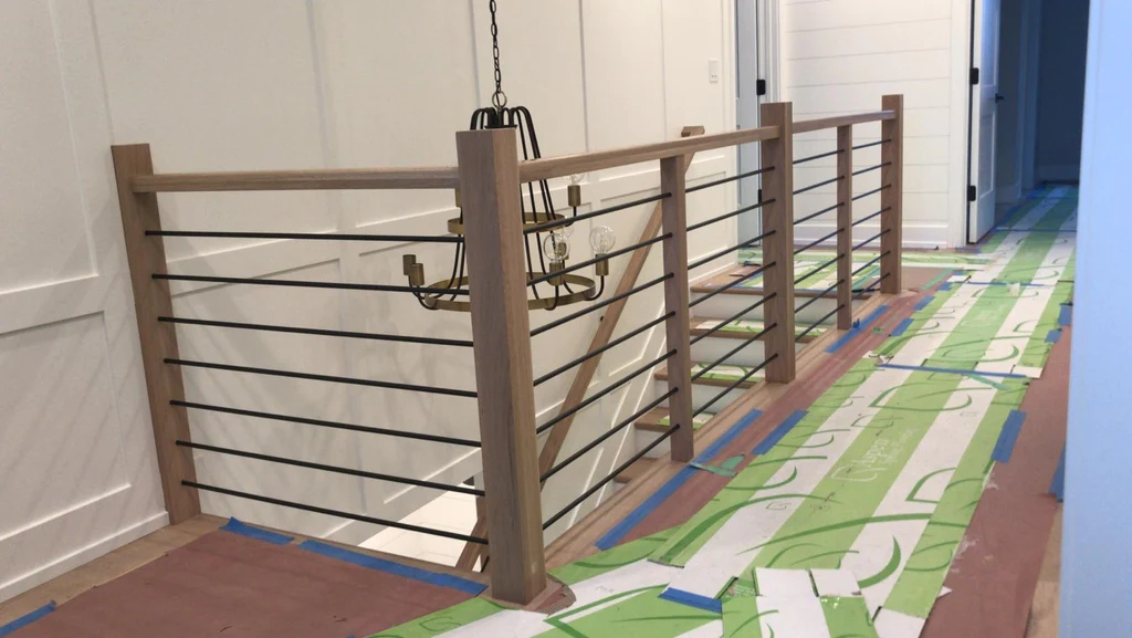 Midwest Stair Parts 5000 5001 Series Horizontal Round Bar Iron   Metal Horizontal Stair Railing   Art Deco   Modern Style   Brushed Nickel   Split Level Foyer   Deck
