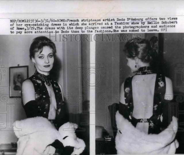 1960 Press Photo French Striptease Artist Dodo Damburg Nea23527 Historic Images