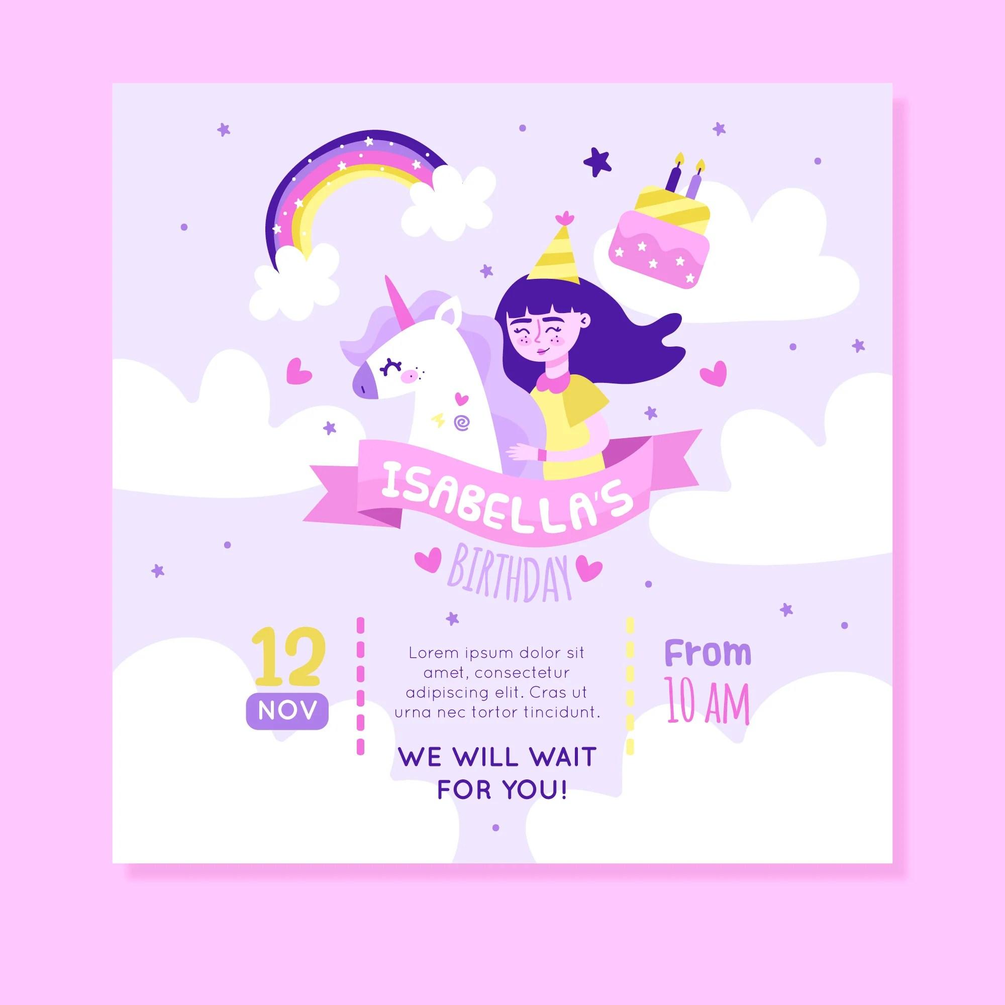 we will wait for you princess unicorn theme birthday invitation card set of 25 pcs