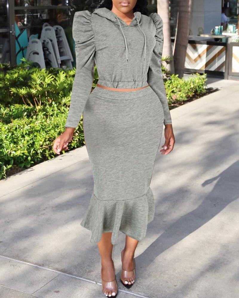 Hooded Drawstring Puff Sleeve Sweatshirt & Fishtail Skirt Sets 2