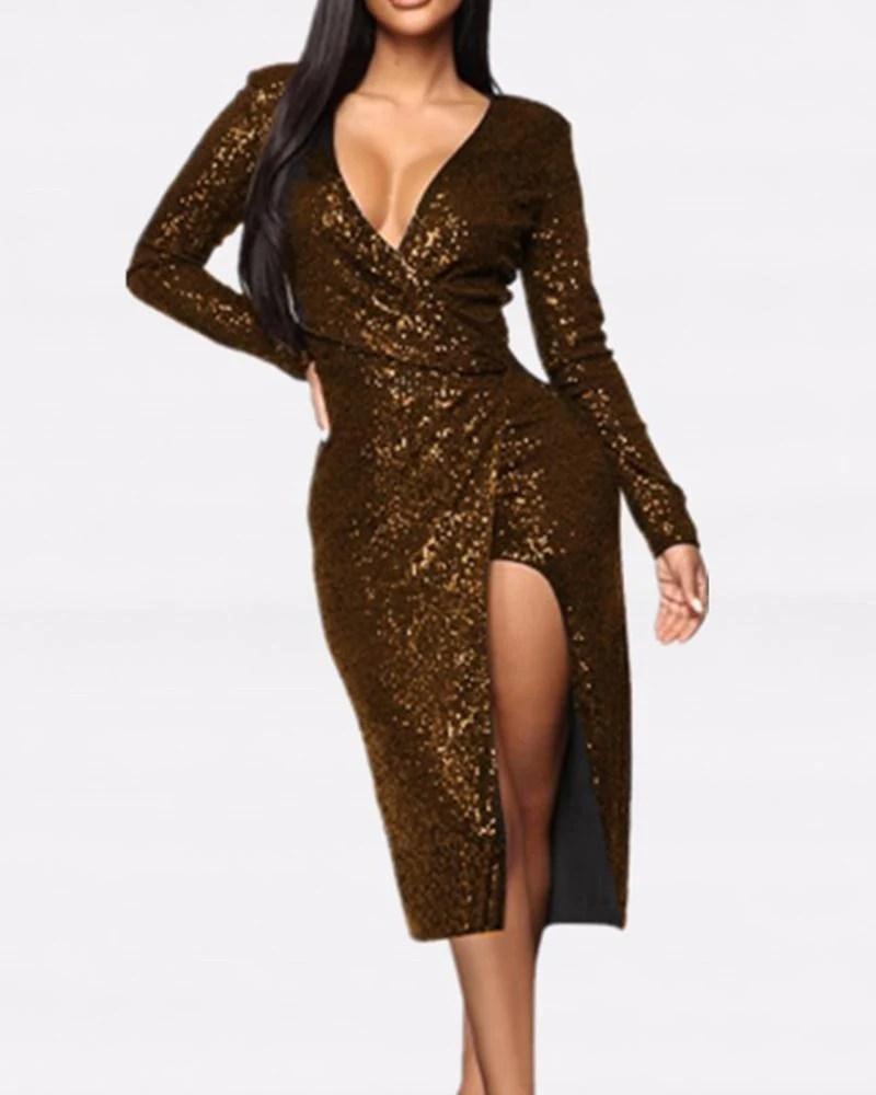 Side Slit Zipper Sequined Dress