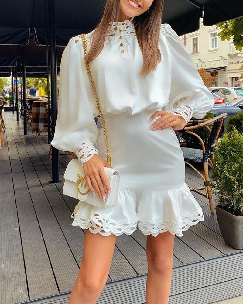 Lace Trim Ruffle Mini Dress 11