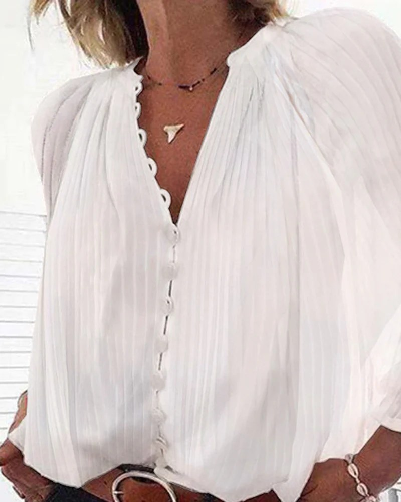 V-Neck Button Through Pleated Blouse