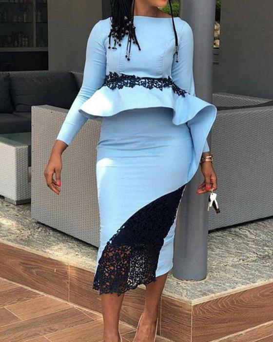 Lace Insert Ruffle Midi Dress 29