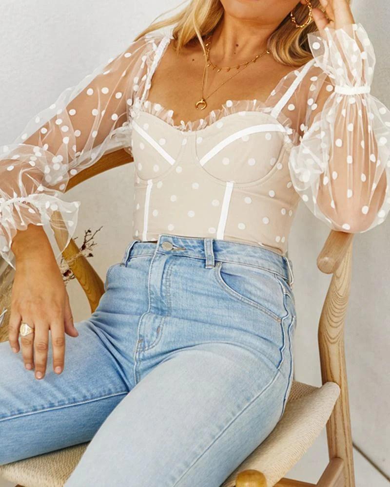 Dot Print Sheer Bell Bottom Sleeve Blouse