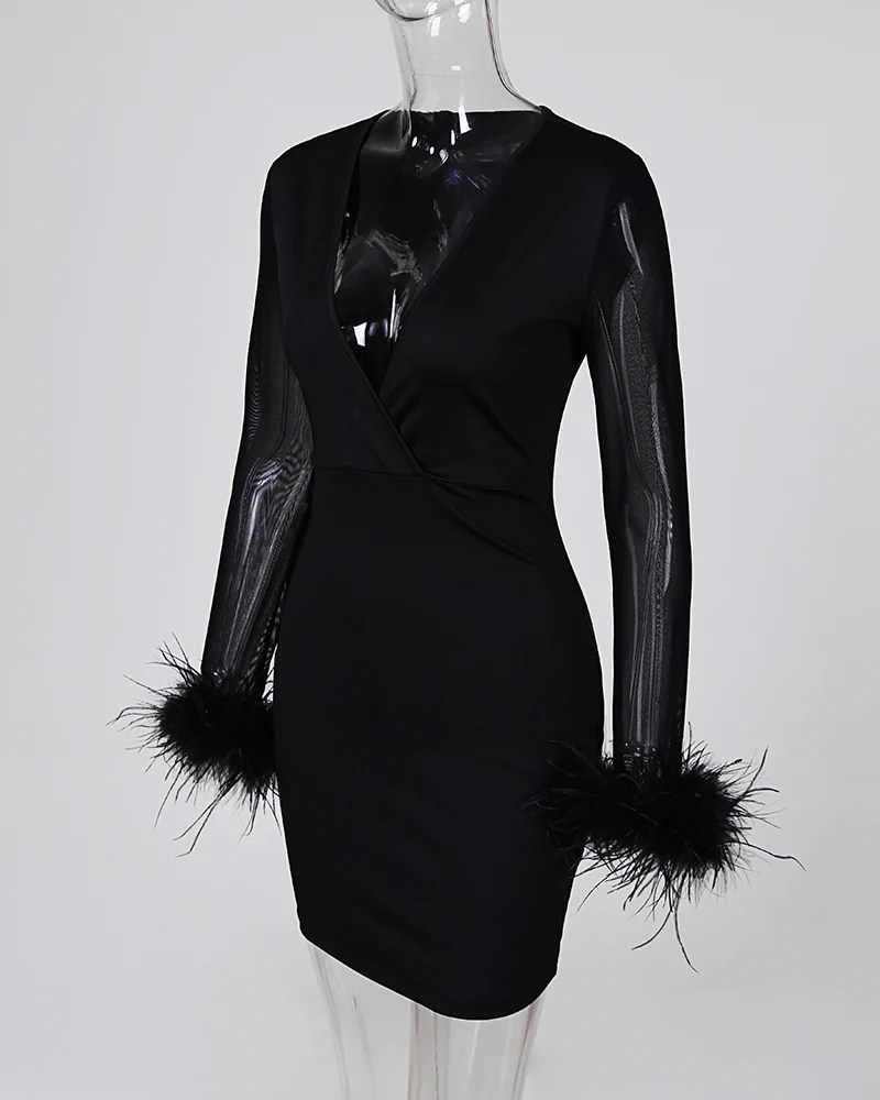 Mesh Patchwork Feather Cuff Dress