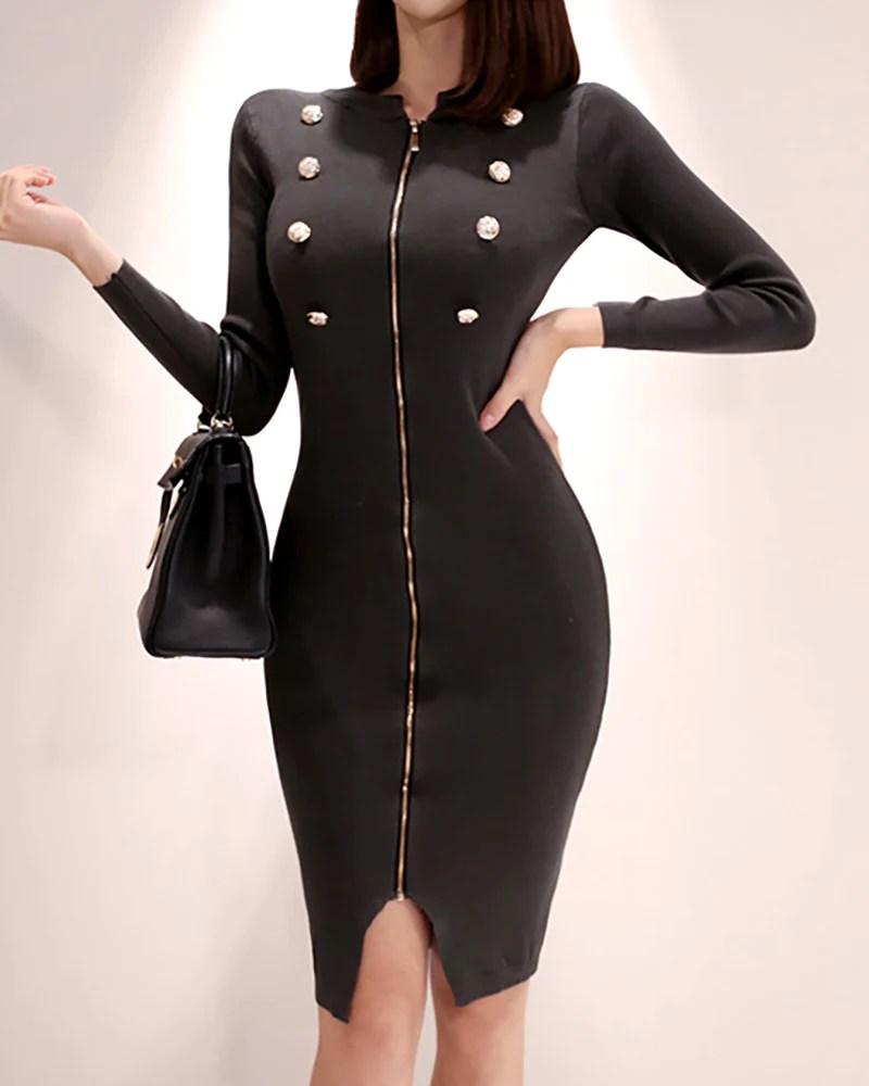 Solid Long Sleeve Zipped Dress 2