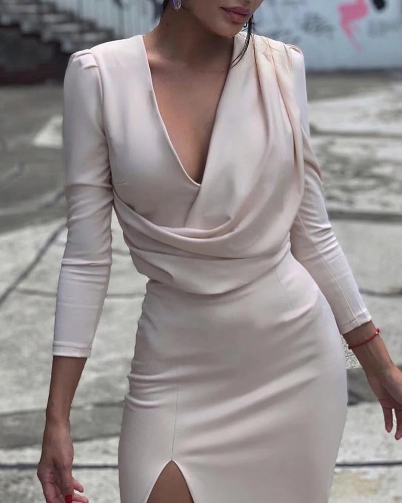 Deep V Drape Front Bodycon Dress