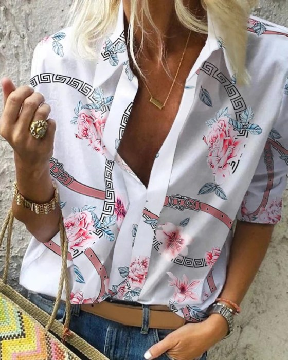 Floral Chain Print Casual Blouse 7
