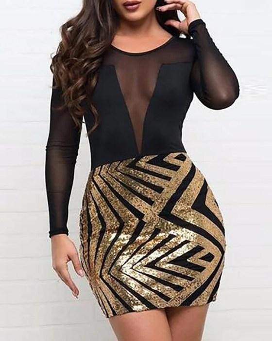 Mesh Sequined Bodycon Mini Dress 1