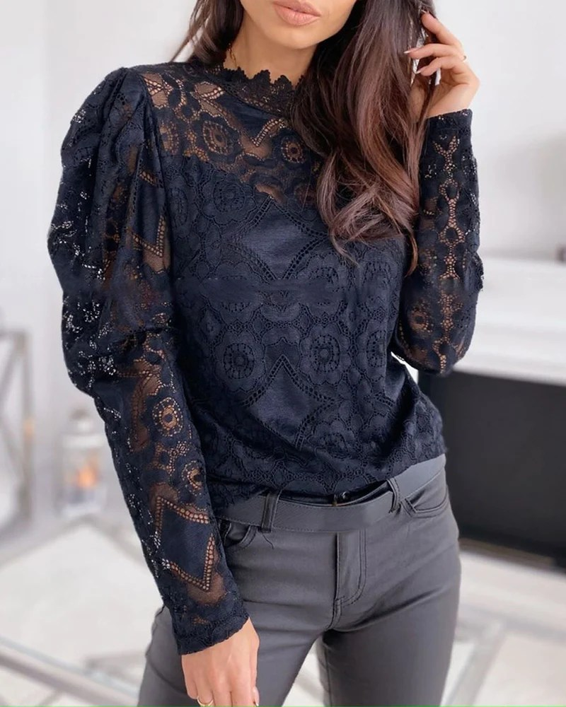 Lace Embroidery Puff Sleeve Blouse 11