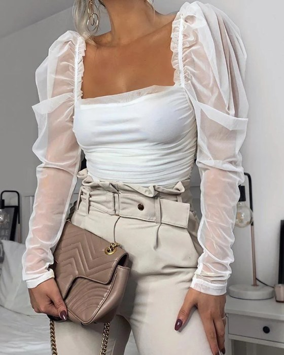Square Neck Mesh Sleeve Top 2