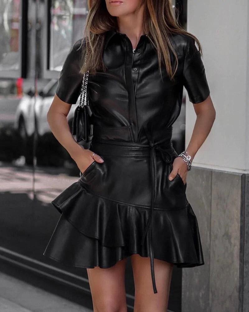 Solid PU Button Design Top & Ruffles Skirt Sets 2