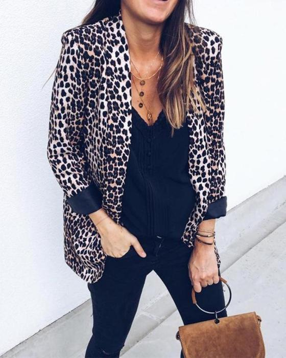 Serpentine Leopard Long-Sleeved Coat 7