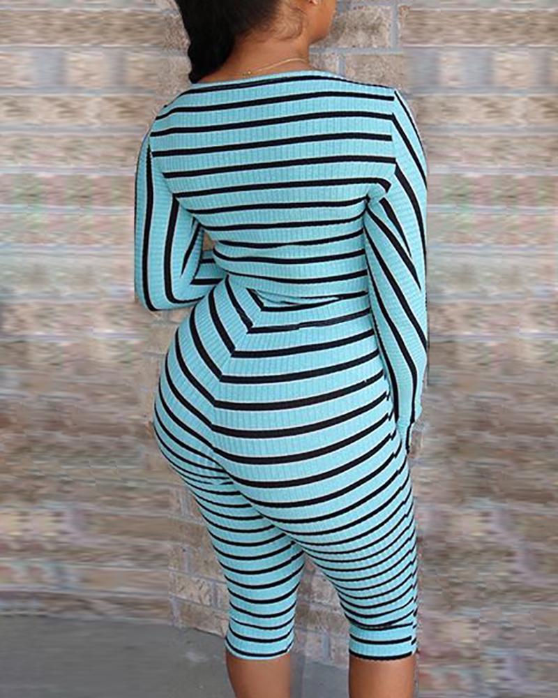 Colorblock Striped Top & Pant Sets