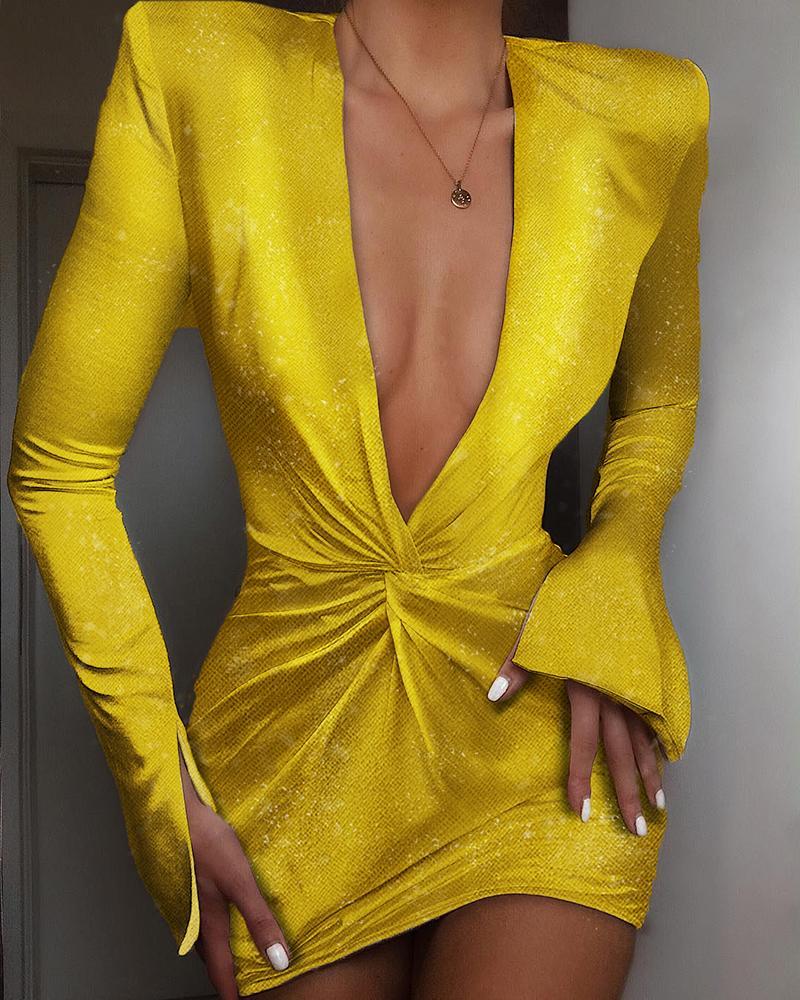 Glitter Plunge Padded Shoulder Twisted Design Dress 1