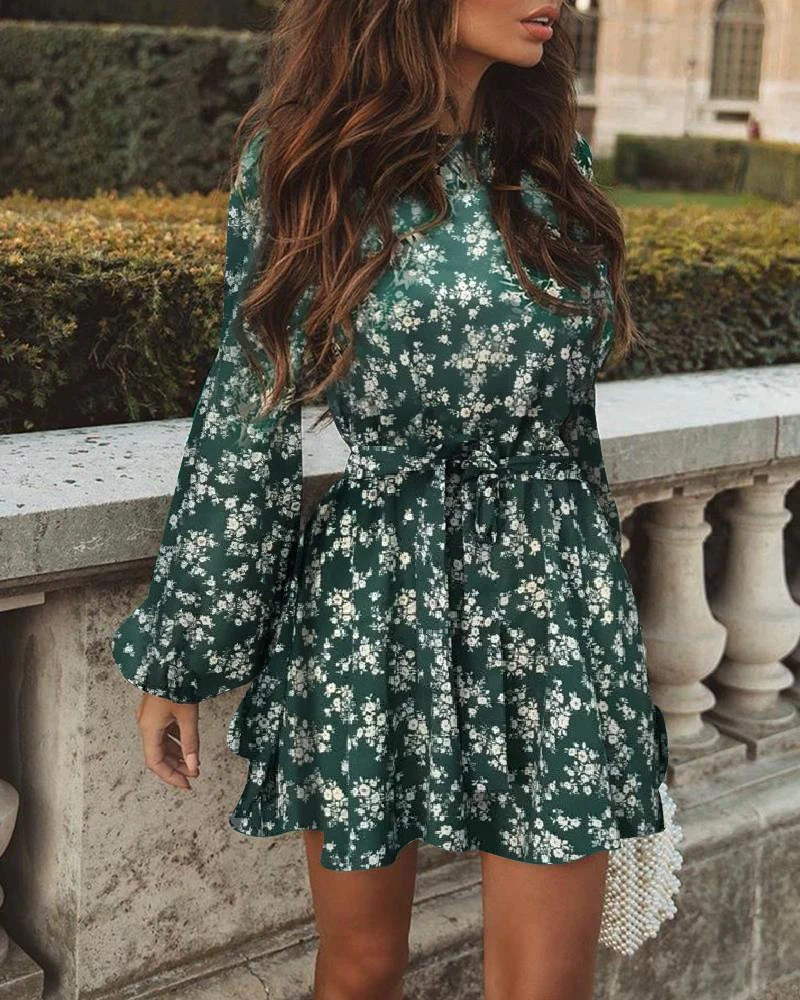 Floral Print Lantern Sleeve Ruffles Dress 1