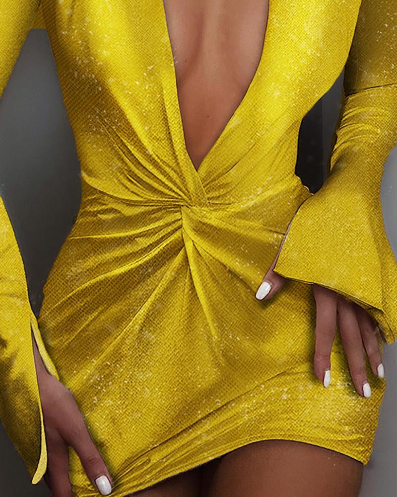 Glitter Plunge Padded Shoulder Twisted Design Dress