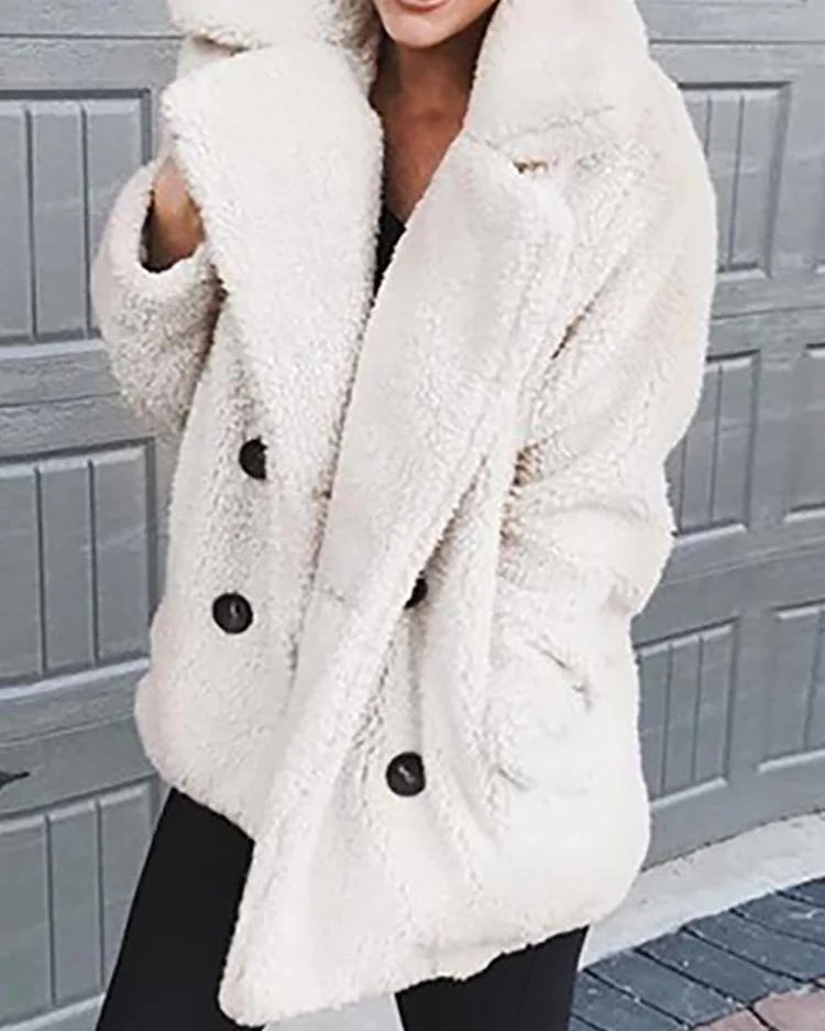 Solid Fluffy Double-Breasted Pocket Design Coat 9