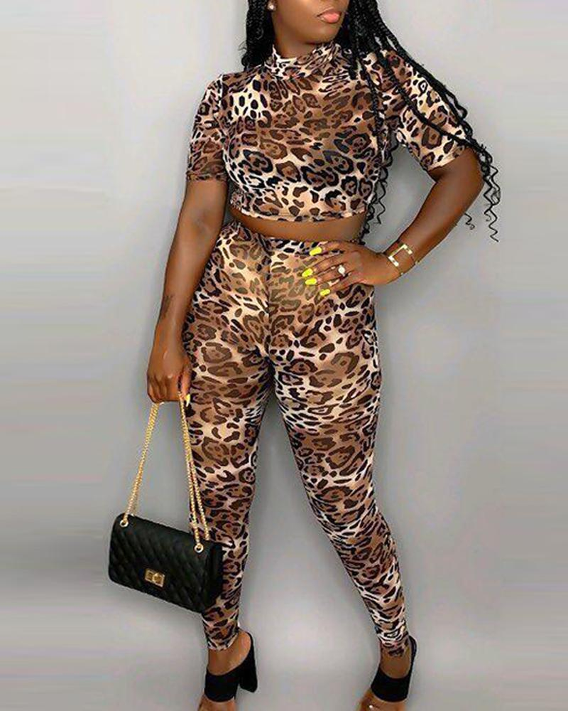 Round Neck Leopard Top & Bodycon Pant Sets 4
