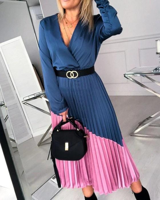 Contrast Pleated Detail Midi Dress 4