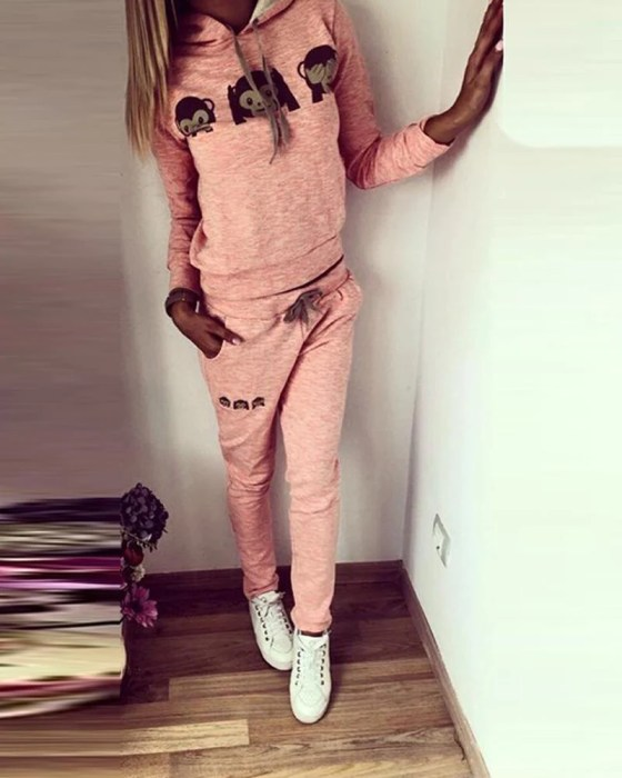 Monkey Print Hooded Pullover Tracksuit 5
