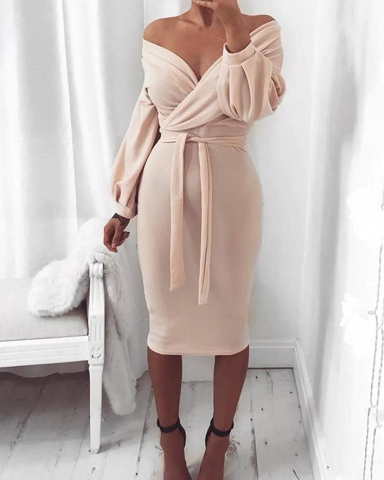 Off Shoulder Twisted Waist Tie Sexy Midi Dress 10