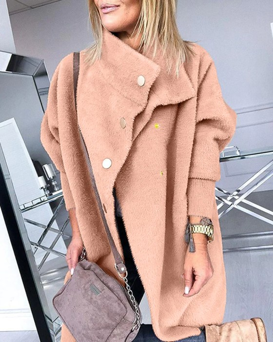 Faux Fur Gold Button Coat 4