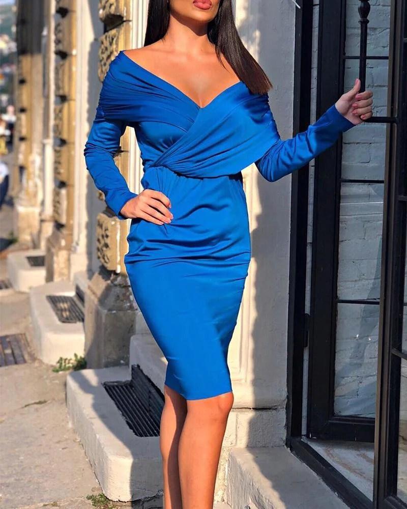 Faux Wrap Mini Sheath Dress