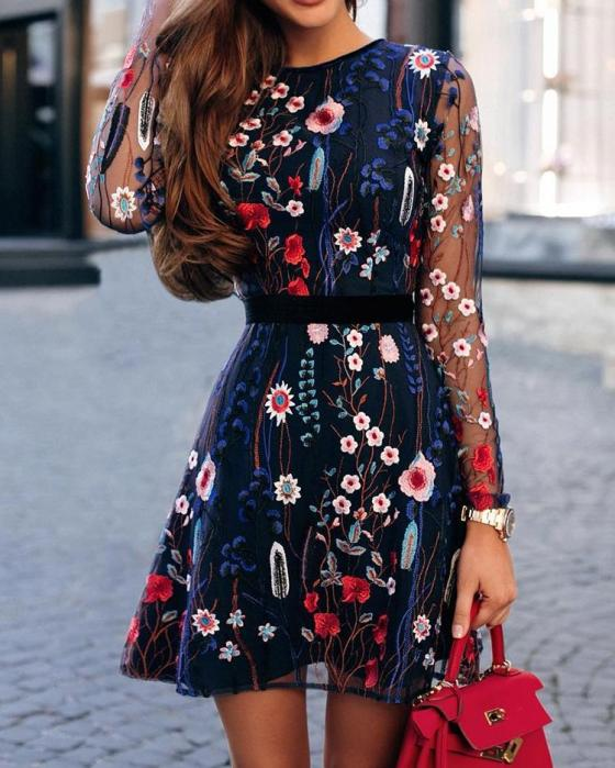 Floral Embroidery Mesh Sleeve Mini Dress 7
