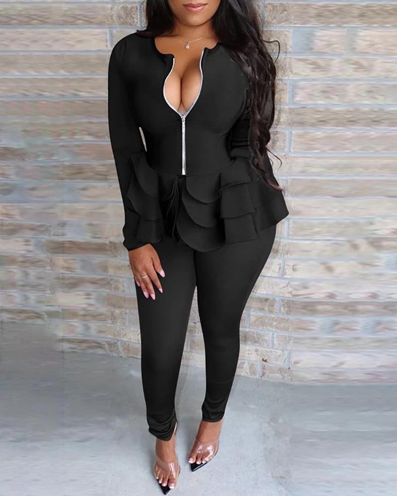 Solid Zipper Design Layered Ruffles Top & Pants Sets