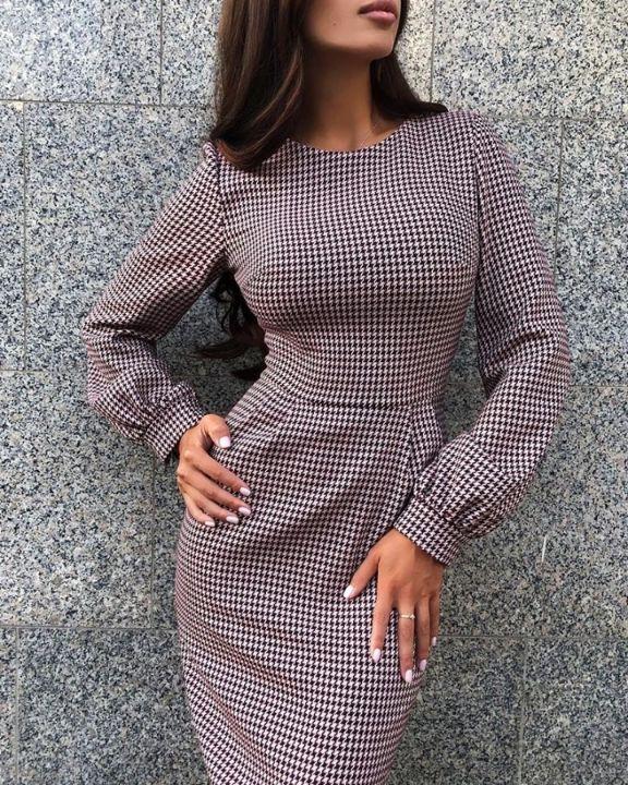 Grid Long Sleeve Bodycon Dress 4