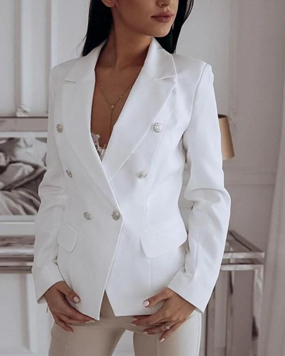 Long Sleeve Two-Button Blazer 7