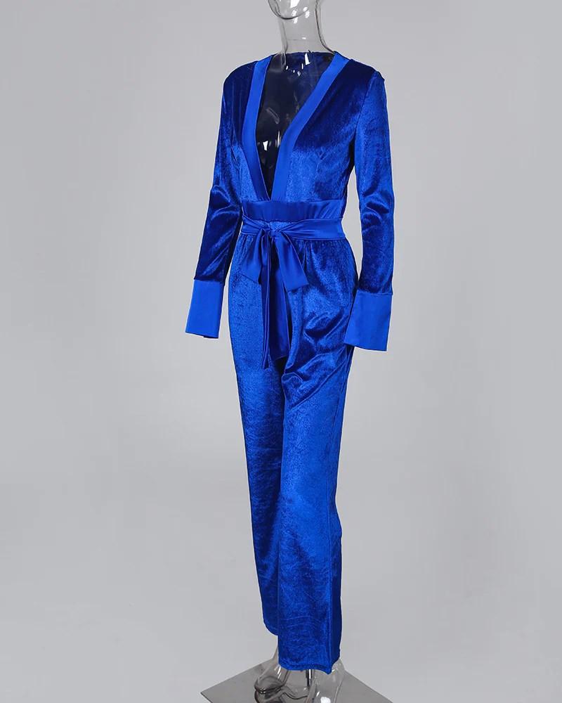 Solid Tied Waist Long Sleeve Jumpsuit