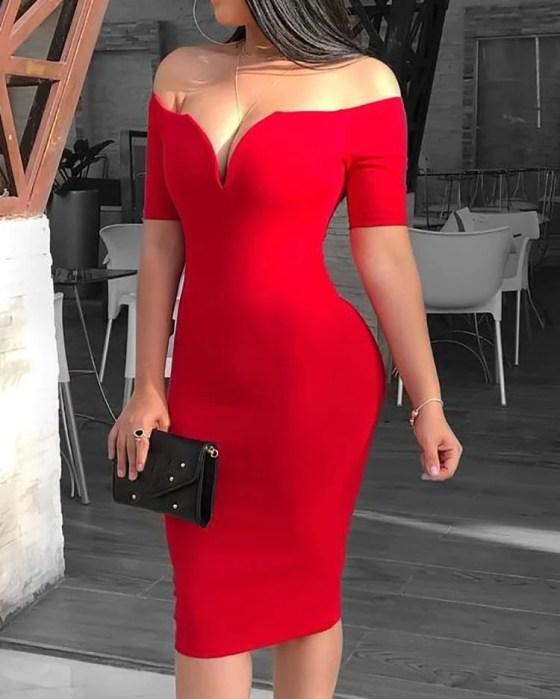 Solid Off Shoulder Short Sleeve Midi Dress 5