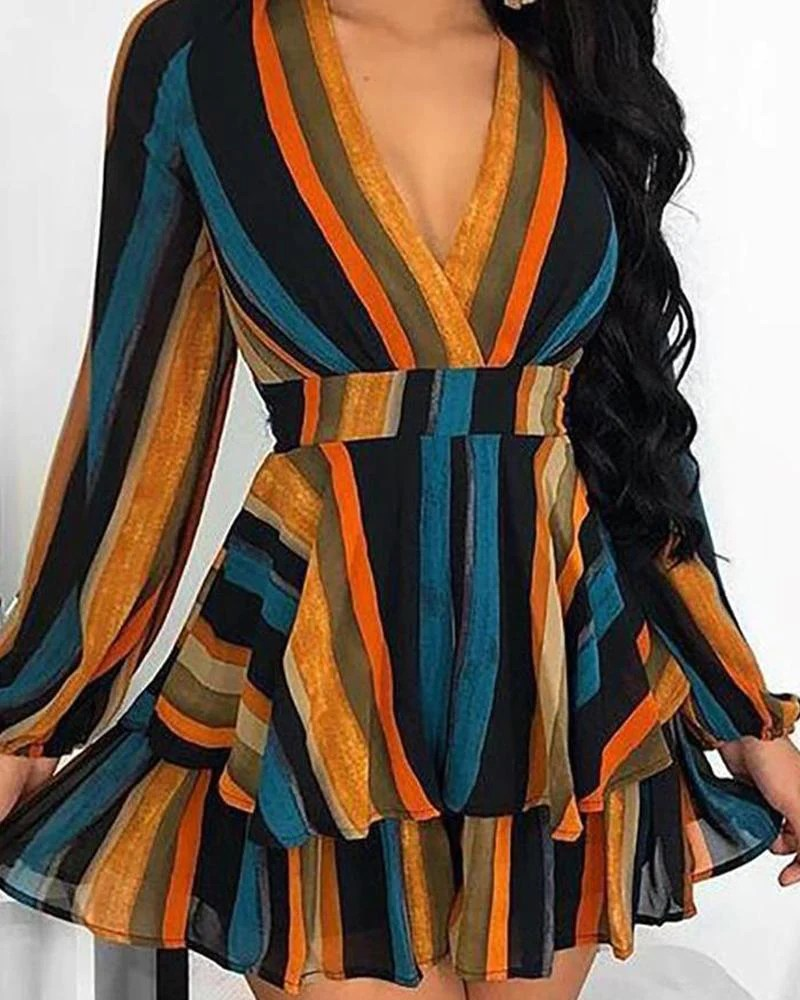 Color Striped Layered Wrap Dress 9