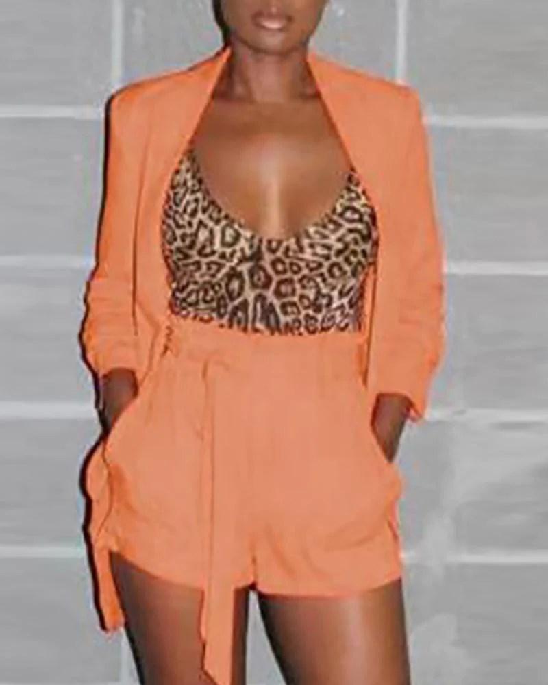 Longline Blazer With Belted Shorts Sets 8