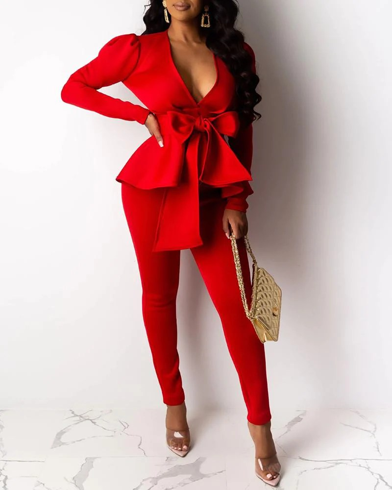 Bow Knot Peplum Design Coat & Pant Sets 10