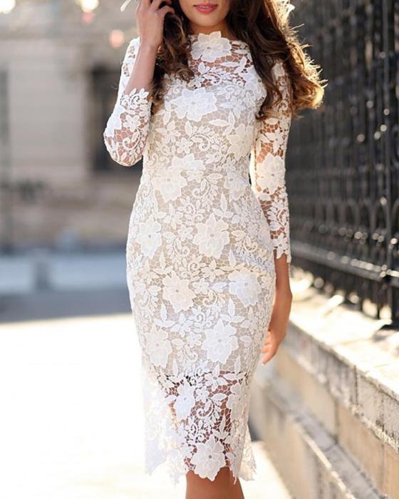 Crochet Floral Lace Bodycon Dress 6