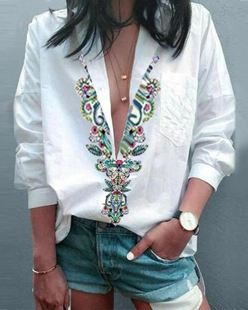 Ethnic Print Deep V Neck Long Sleeve Shirt