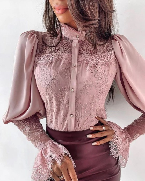 Lace Patchwork Puff Sleeve Buttoned Blouse 8