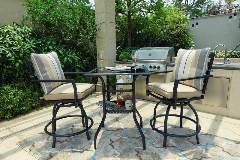 3 piece outdoor patio bistro swivel bar sets with 2 stools and 1 glass top table chair red beige