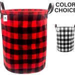 Buffalo Checkered Cloth Canvas Basket Black And Red 15 X 18